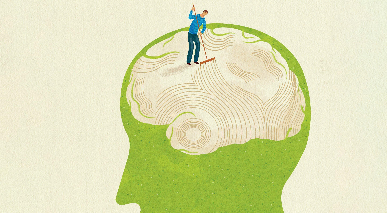 Illustration of a man raking a brain-shaped zen garden inside a man's head