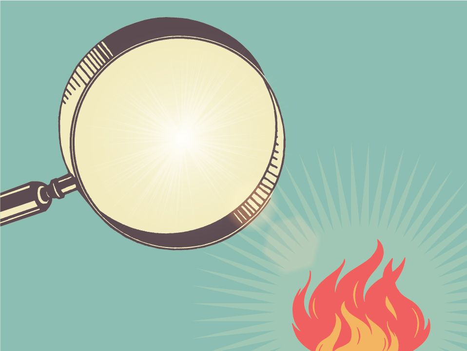 An illustration of a magnifying glass against a solid green backdrop focusing on something and creating fire.