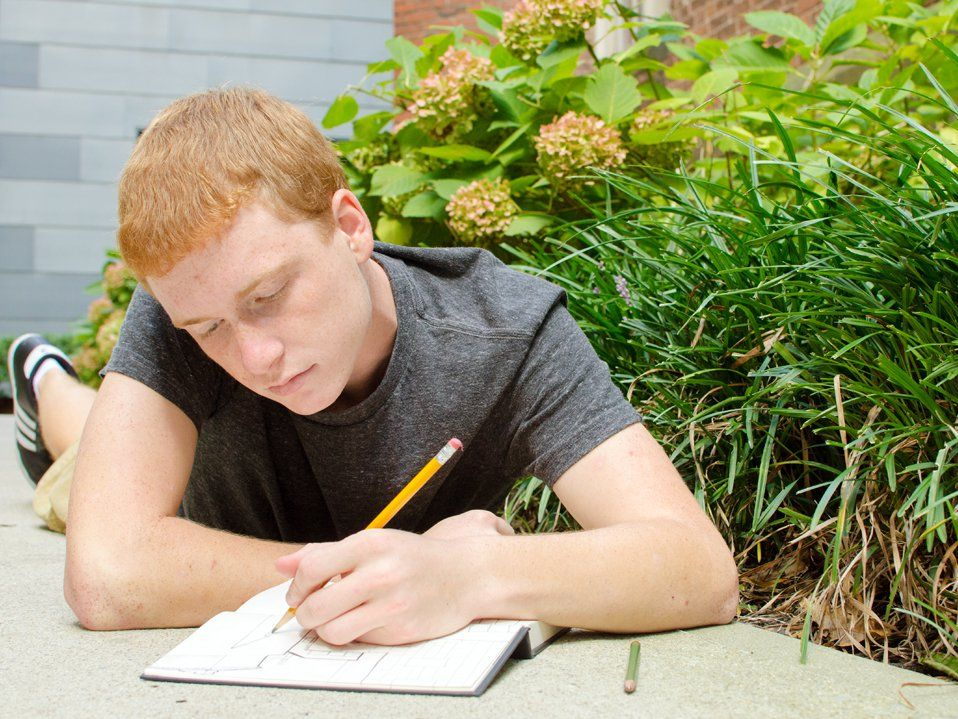 A red-headed, teenage boy is lying on the sidewalk, beside pink hydrangea plants, drawing in a sketch book. Behind him is a brick building.