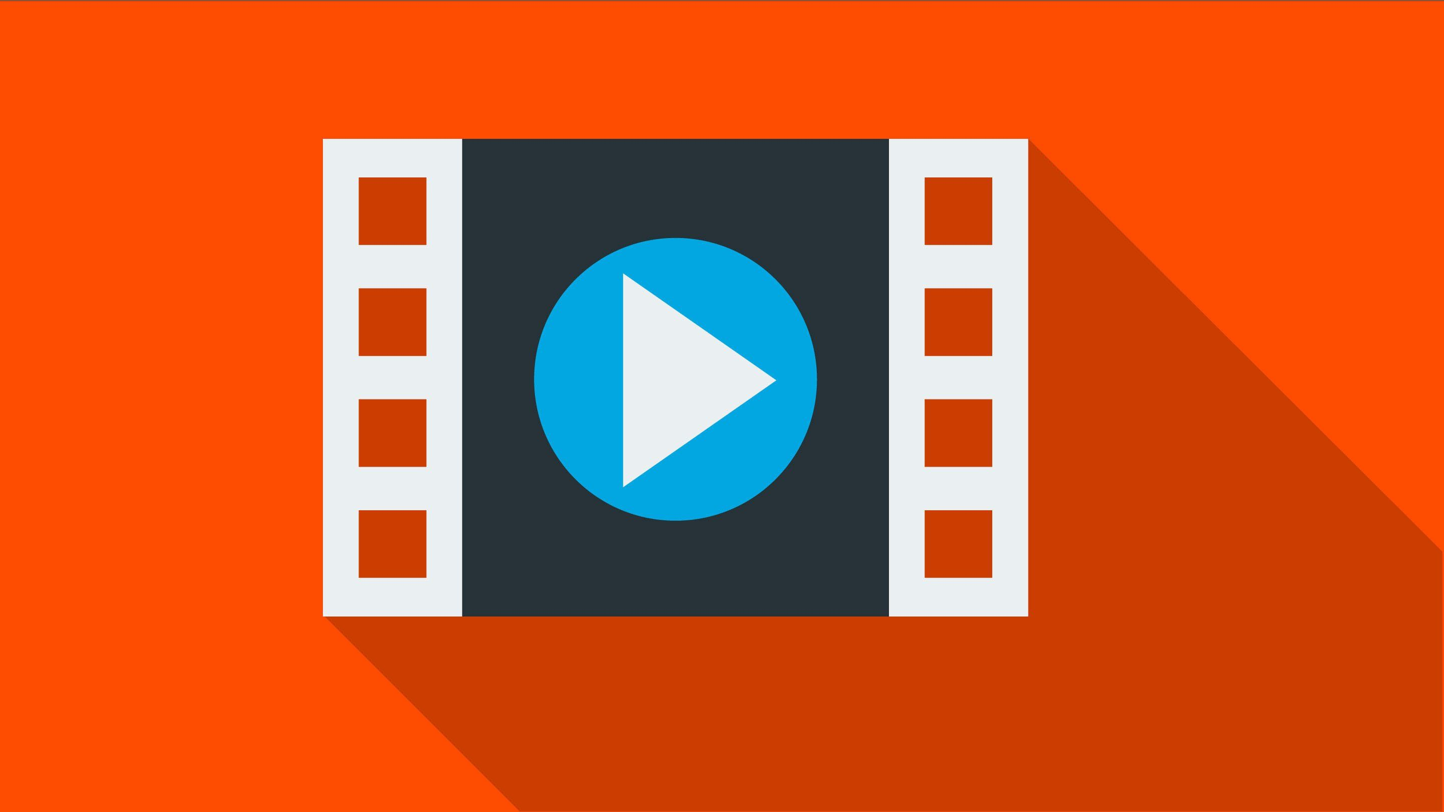 An illustration of a square 35 millimeter film against an orange backdrop with the video play button on top.