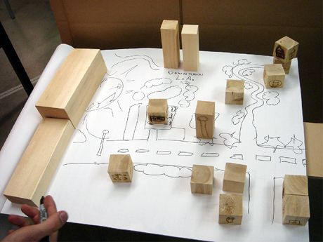 photo of a city plan created by students on paper with wooden blocks