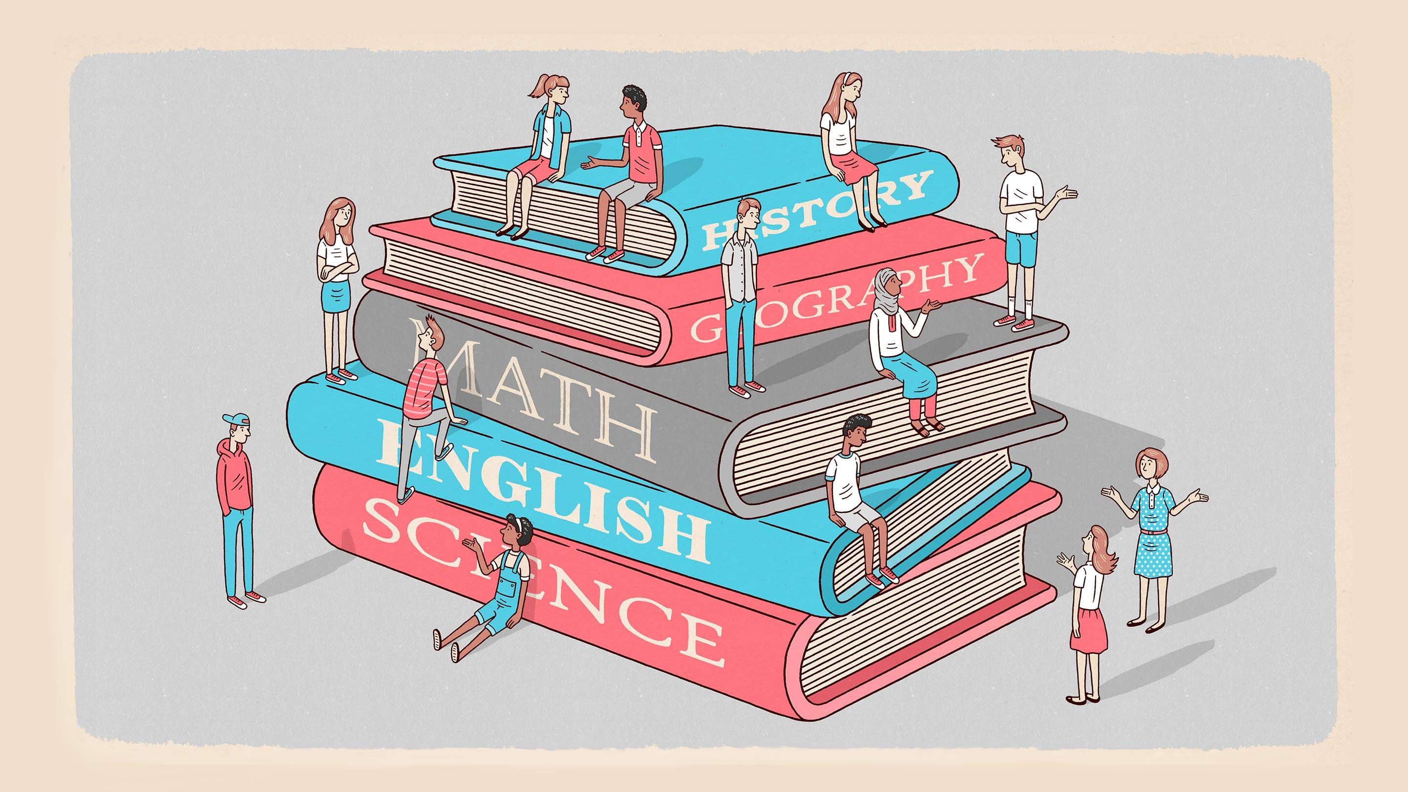 """An illustration of people sitting on a stack of larger-than-life red and blue textbooks labeled, """"History,"""" """"Geography,"""" """"Math,"""" """"English,"""" and """"Science."""""""