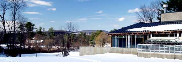 Rural Campus: The rear window of the Fisher Science Center offers a lovely vista of the Berkshire Hills. The campus was once the site of a dairy farm.