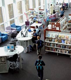 Community Nest: A joint-use library such as the Mawson Centre, in Mawson Lakes, South Australia, caters to the community while meeting the needs of a nearby school.