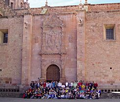 Church Goers:  ISA sophomores outside the Zacatecas cathedral in 2004.