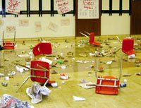 """Cafeteria Caper: Science teacher Kevin Jones """"makes science real"""" with this crime scene."""