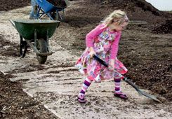 Digging in the Dirt: A fashionable pupil at Sherman contributes to the greening of the schoolyard.