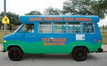 Fuelish Things:  Biofuel powers the school's colorful minibus.