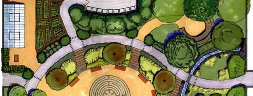 Looks Like a Plan: Landscape architect Jeff Miller's drawing for the green schoolyard at Sherman Elementary School provides a playground, park, and learning environment for students. The site, now being built by kids and parents as well as construction professionals, will include a labyrinth, a stone amphitheater, an edible garden, and greenhouses.