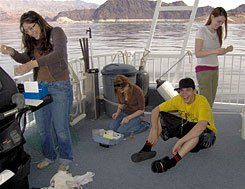 Chemistry Test:  Sara, Arialle, and Mandy collect data to determine the amount of phosphates, nitrates, and dissolved oxygen in Nevada's Lake Mead. Angelo will share the results with students in Virginia via live video feed.