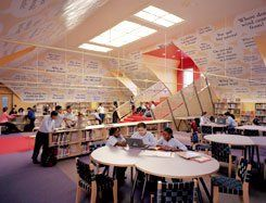 May We Quote You? At PS 106, in Brooklyn, New York, a library designed and renovated by the Robin Hood Foundation features the skylight questions of the kids who read and learn there.