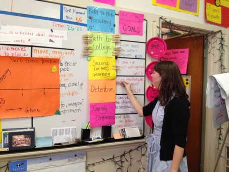 Megan Macpherson stands at the front of her sixth grade classroom, 2012.