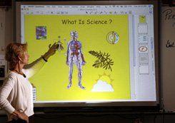 Teacher Sue Holland and her beloved interactive whiteboard. Credit: Elena Dorfman