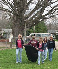 Community Spirit:  Connersville Middle School seventh graders go on a cleanup mission.