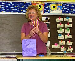 """Pencil Pusher: Eileen Sheehan displays pencils for """"sale"""" in her classroom."""