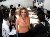 Archi-tutor: Chief instructor Casey Brennan guides students from many schools through the intricacies of urban planning.