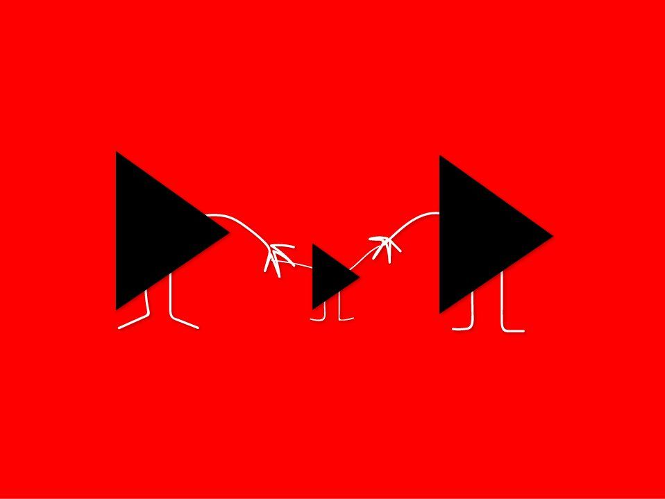 Red graphic with a family of video play button cartoon characters