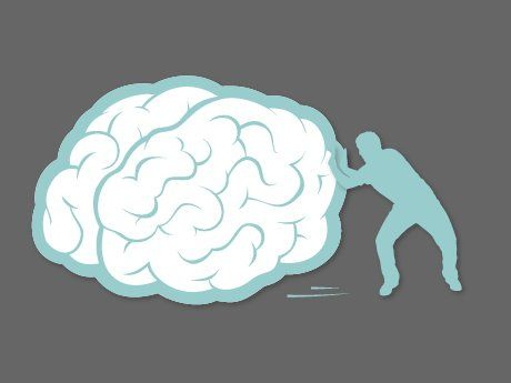 Illo of a man pushing a very, very large brain