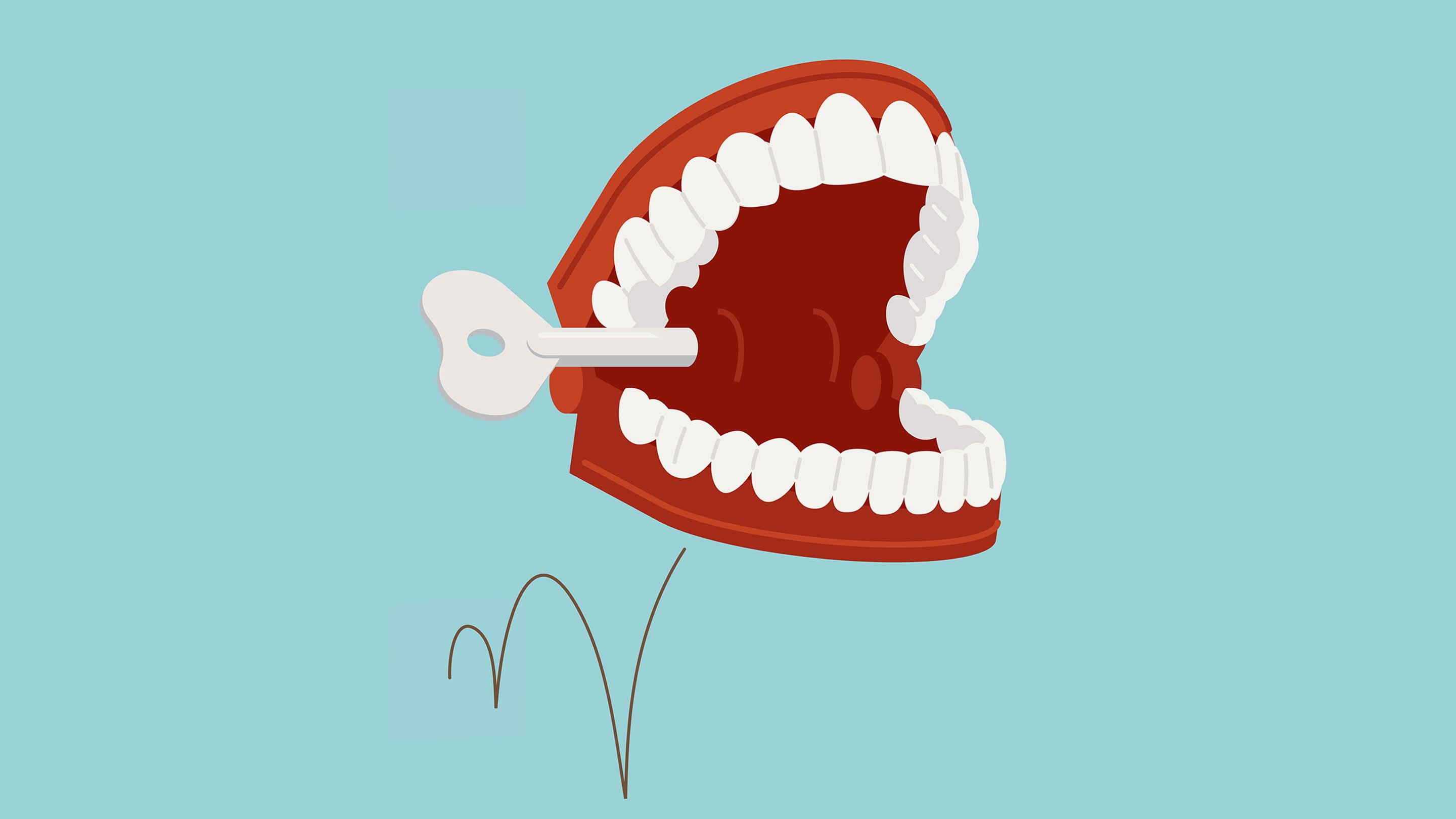 illustration of chattering-teeth windup toy