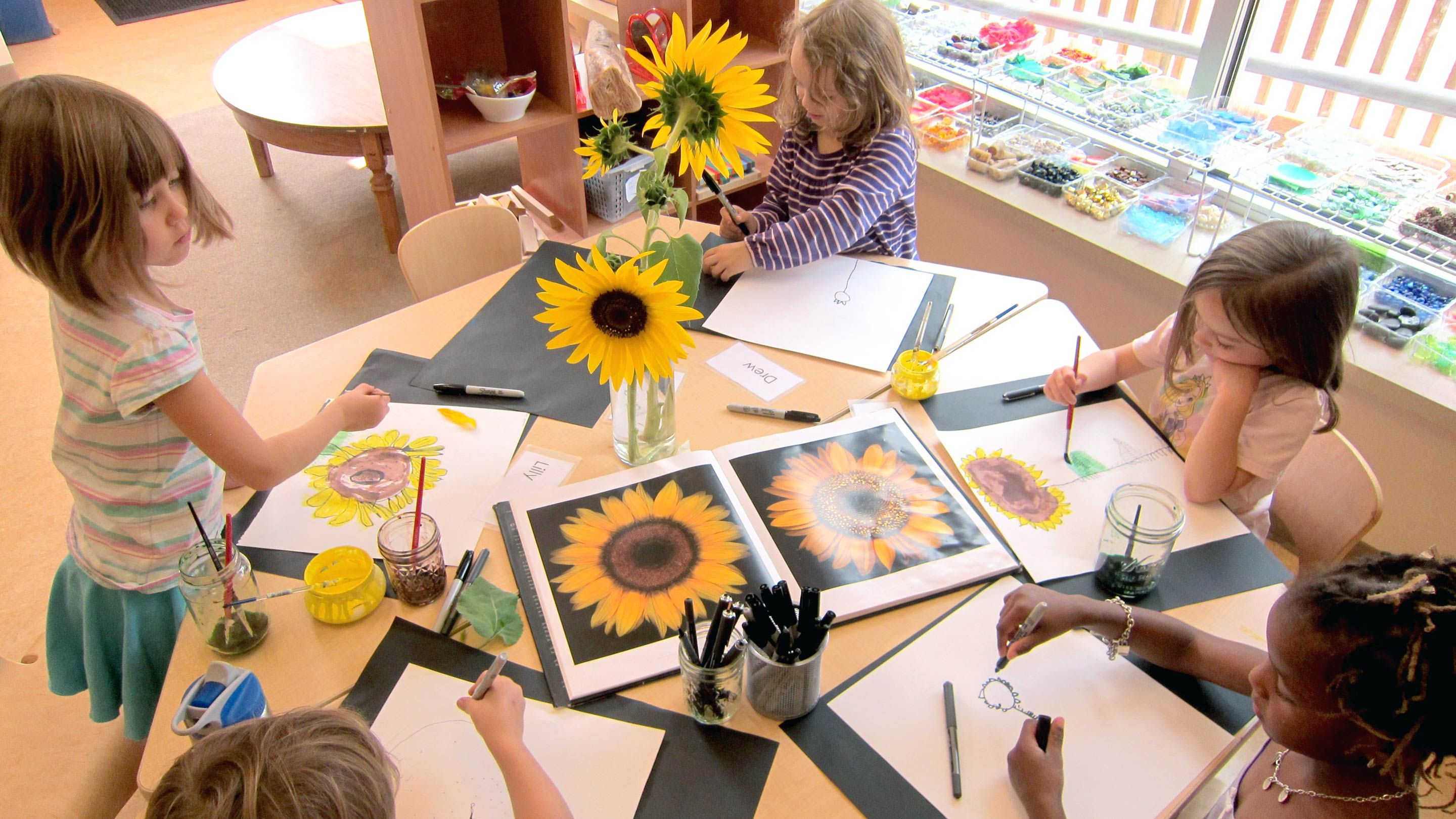 Five first grade girls sit at a round table painting portraits of sunflowers.