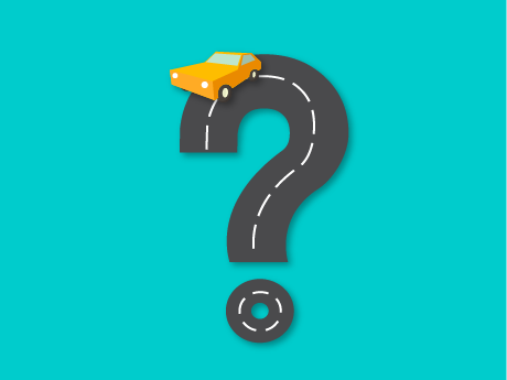 An illustration of a question mark with a car driving around the top curve.