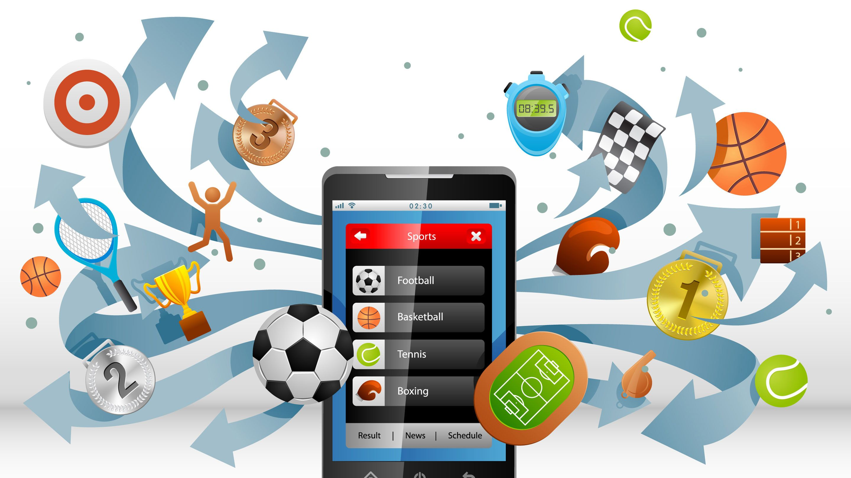 Illustration of a smartphone with sports icons streaming out.