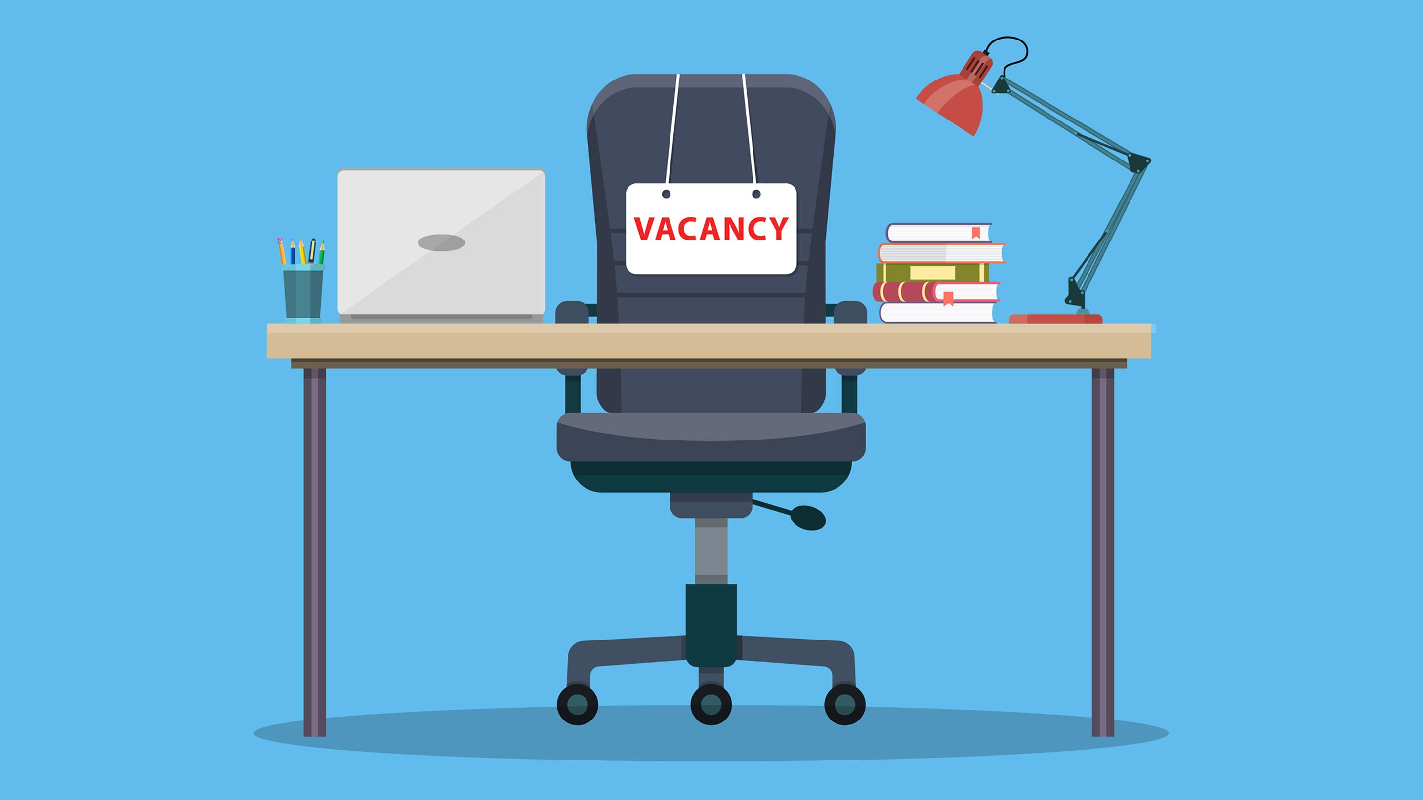 "Illustration showing a teacher's desk and a chair with a ""Vacancy"" sign"