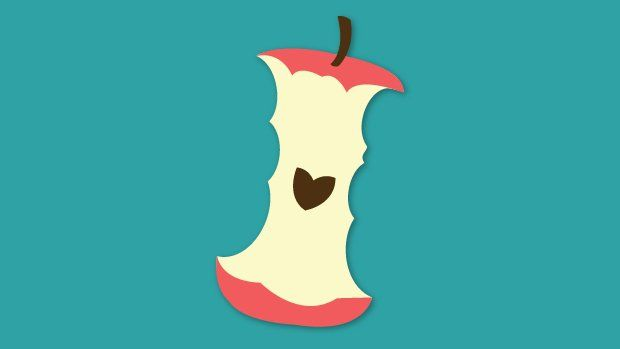 illustration of an apple core