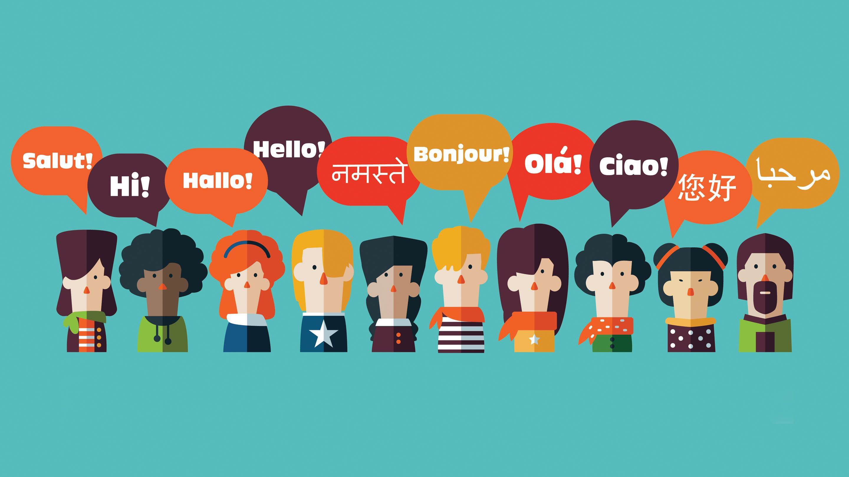 illustration of ten people with speech bubbles above their heads with the word hello in many different languages