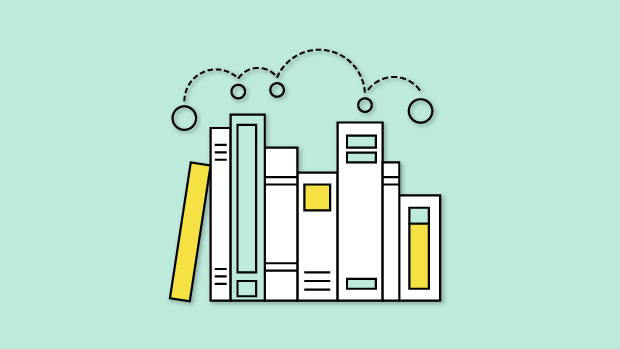 Graphic of curriculum on a bookshelf