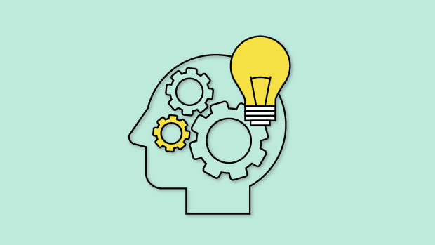 Graphic of head with gears and lightbulb