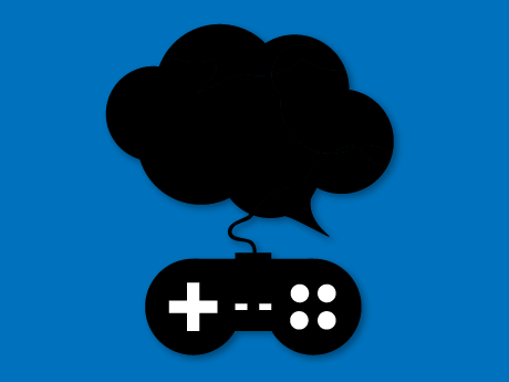 An illustration of a quotation bubble connected to a game controller.