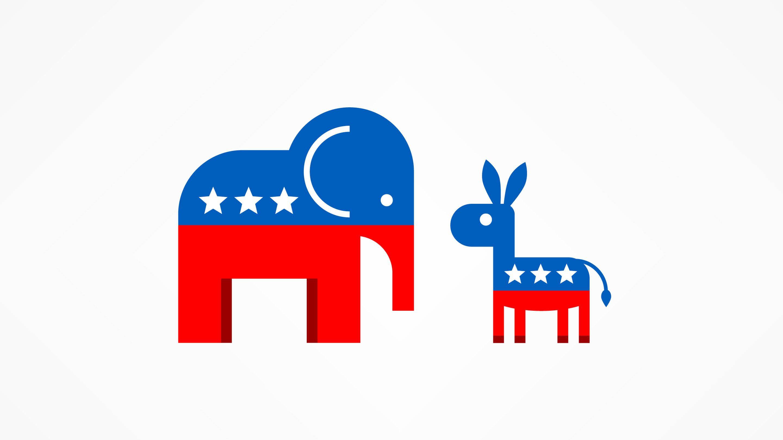 Illustration of donkey and elephant silhouettes