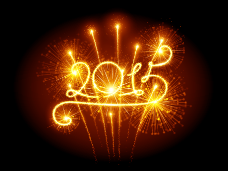"""A photo of the word """"2015"""" written with fireworks."""