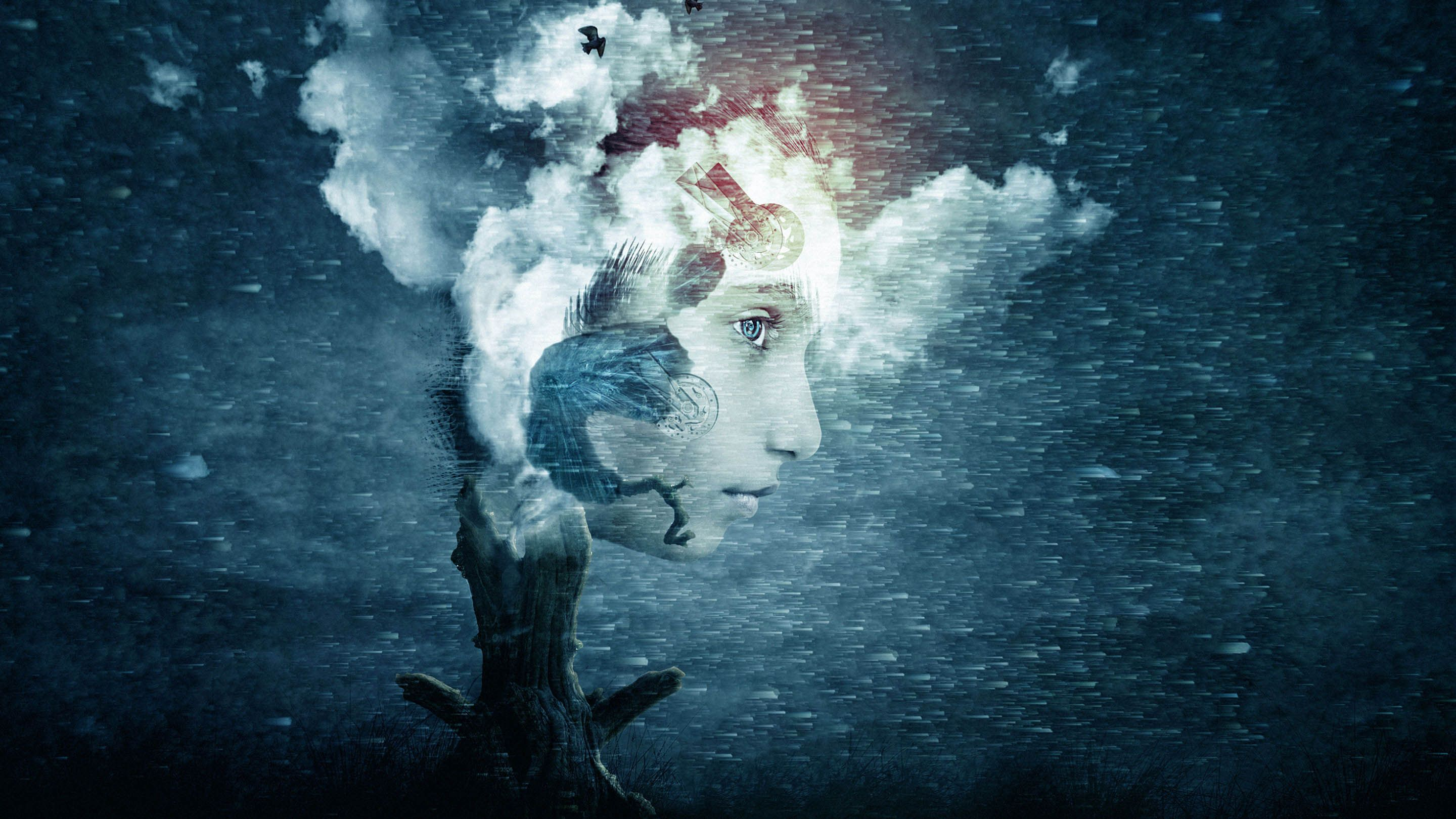 Illustration of a dark and beautiful storm behind a young person's face