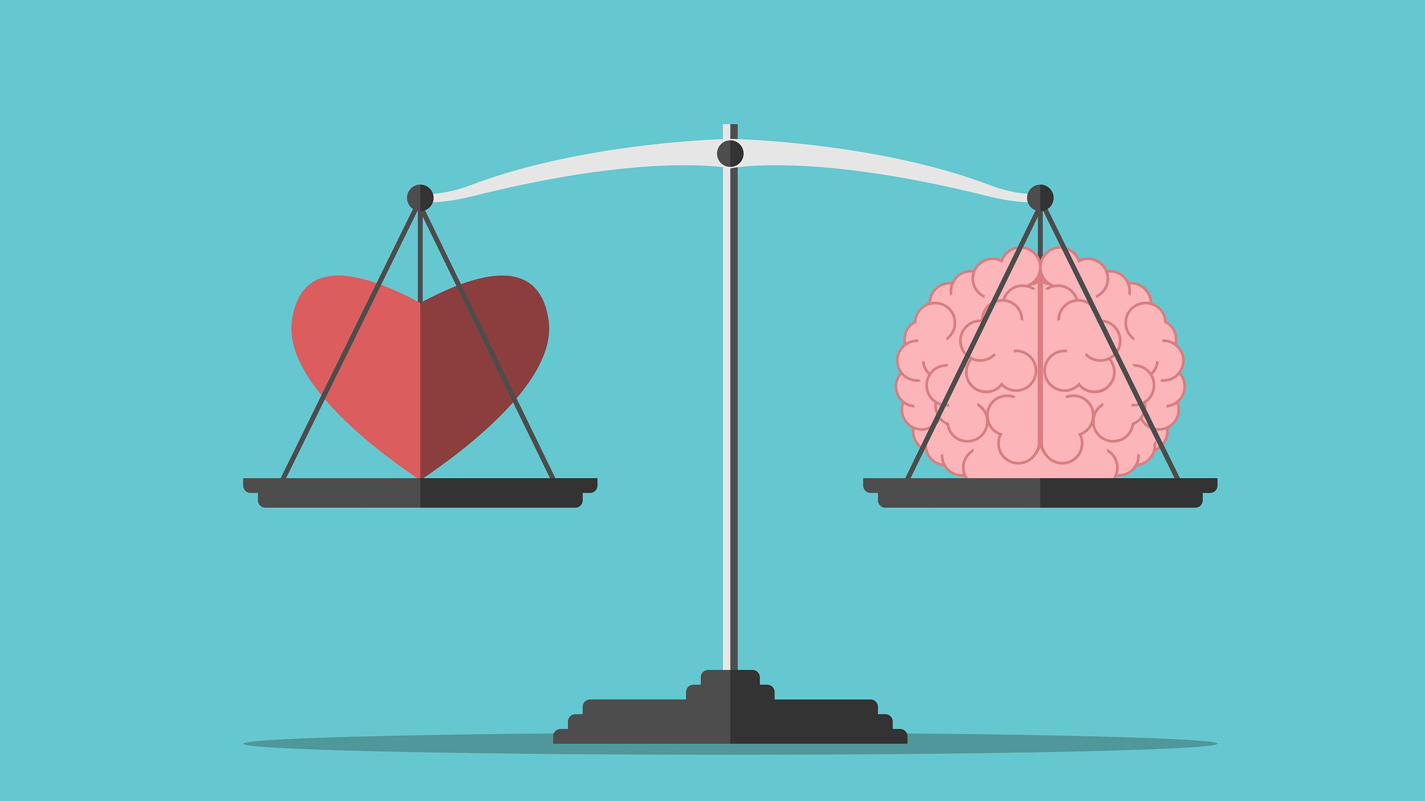An illustration of a heart and a brain on a weighing scale measured at equal weight.