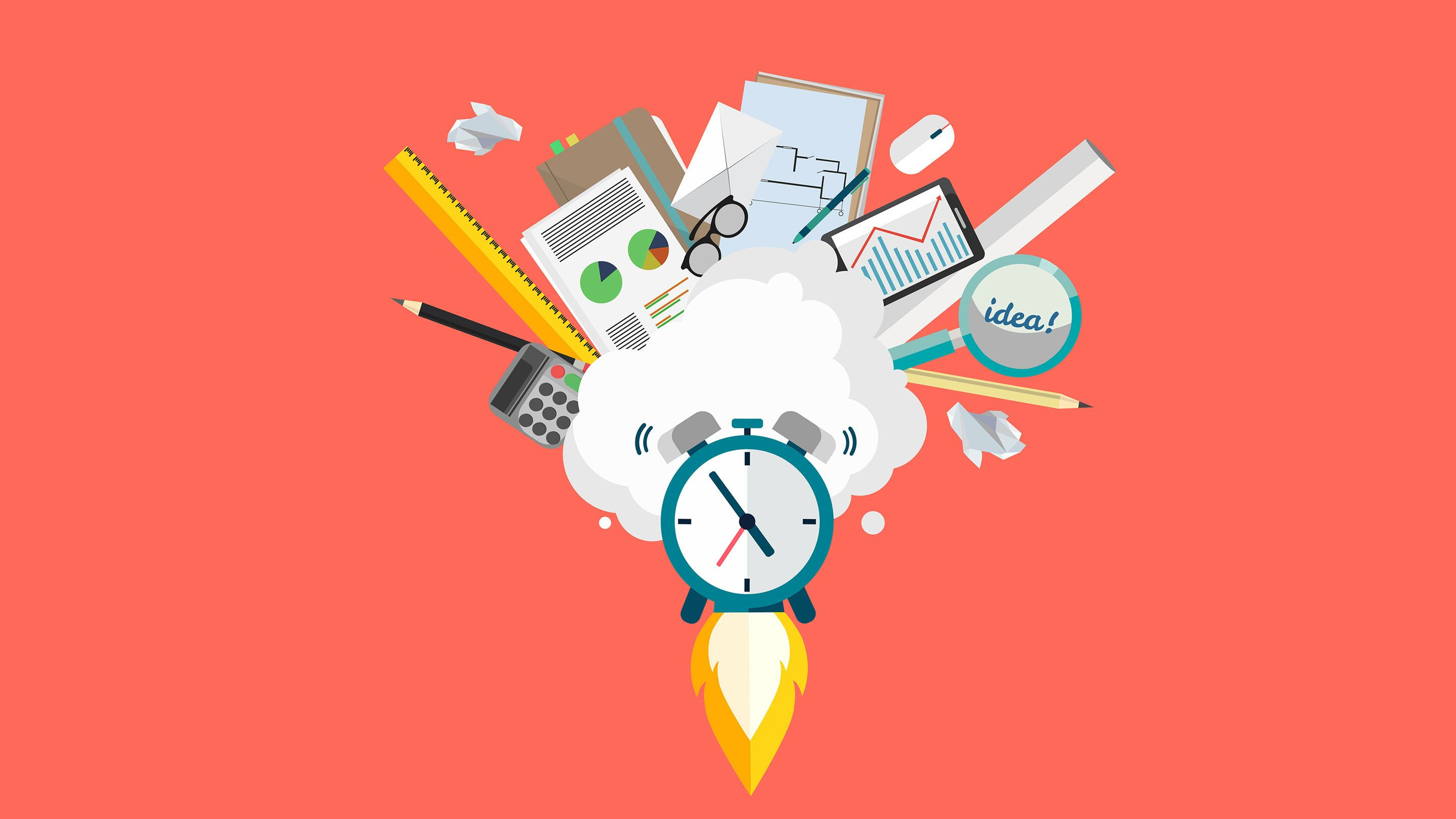 Illustration of a clock taking off like a rocket, with pens, paper, a tablet computer, and other items in a cloud above it