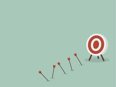 Illustration of a target with arrows that have missed the mark on the ground below.