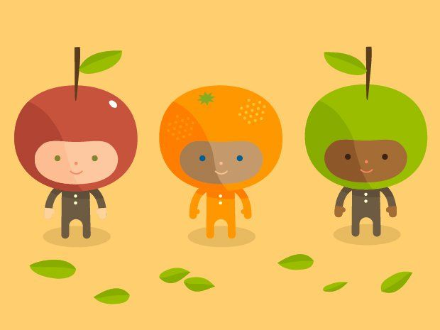 Illustration of children dressed as apples and oranges