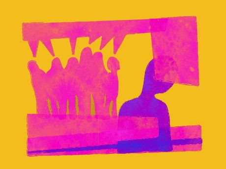 Graphic of a student looking down with a group of students standing behind.