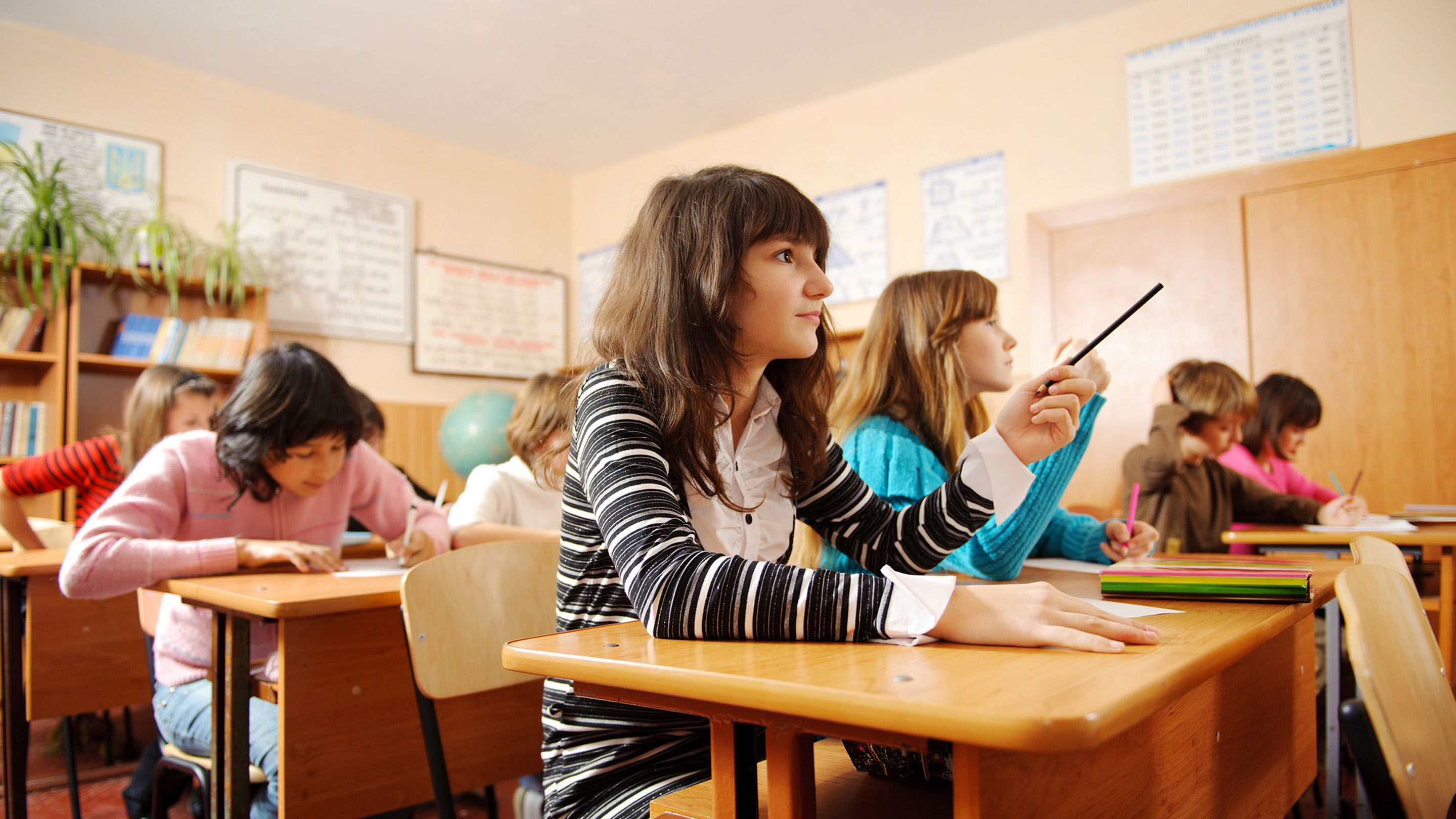 Engaged students at work in a classroom