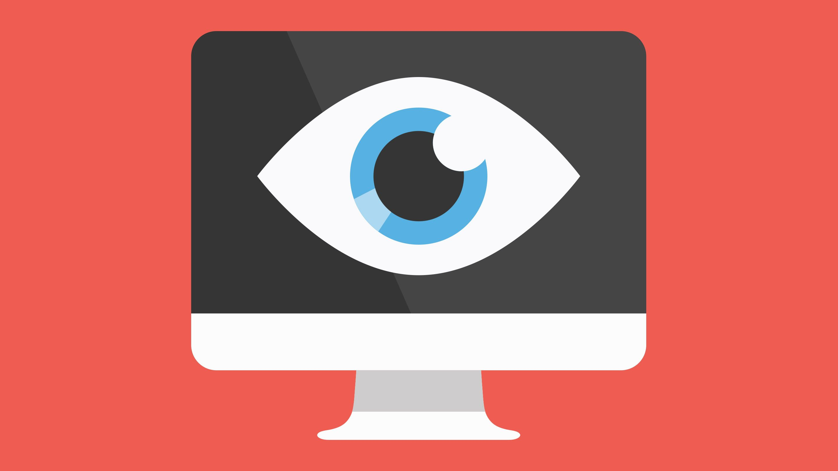 An illustration of an eyeball looking out from a computer screen.