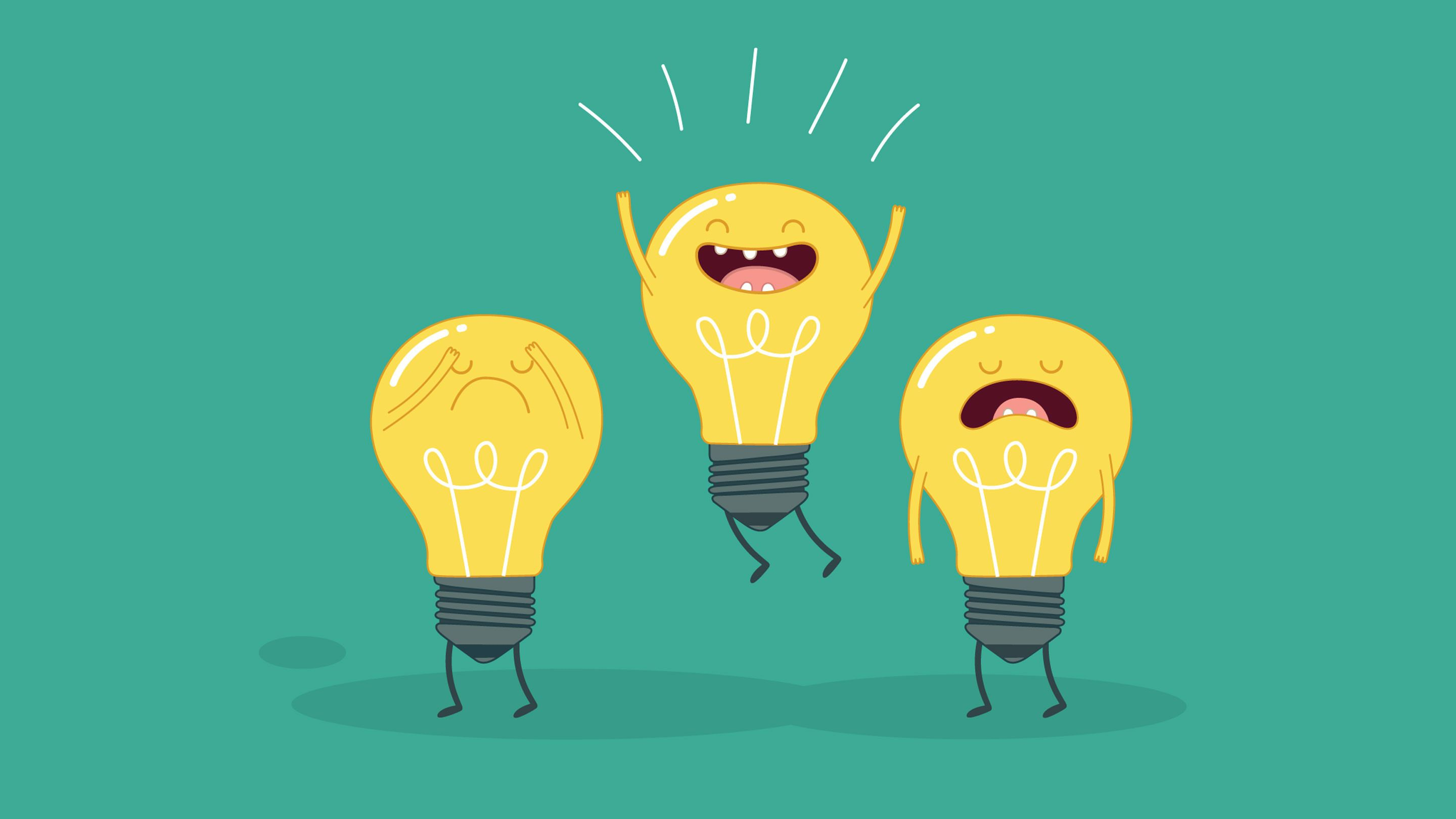 Three cartoon lightbulbs standing together–one frowning, one jumping up and down and smiling, the other crying.