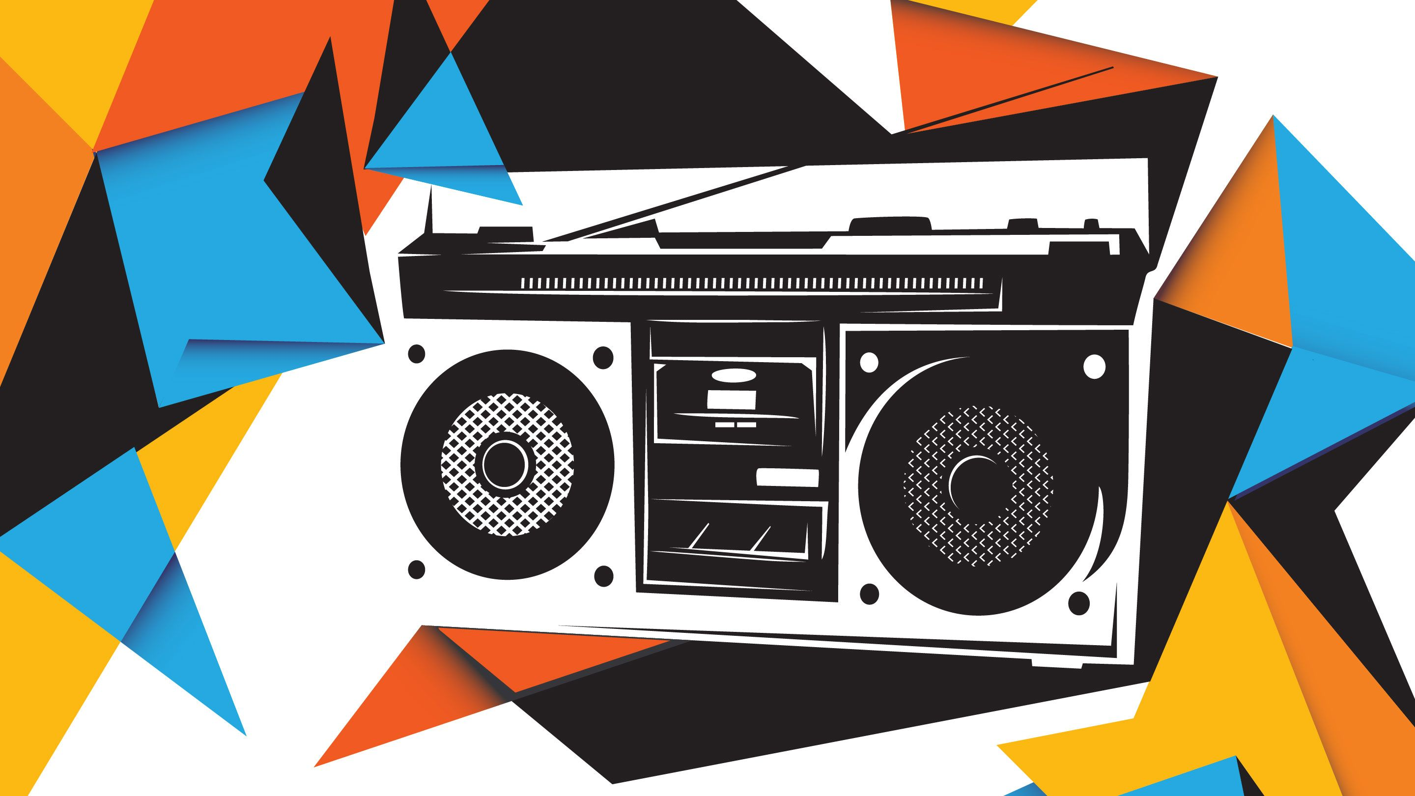 Stylized illustration of a boombox