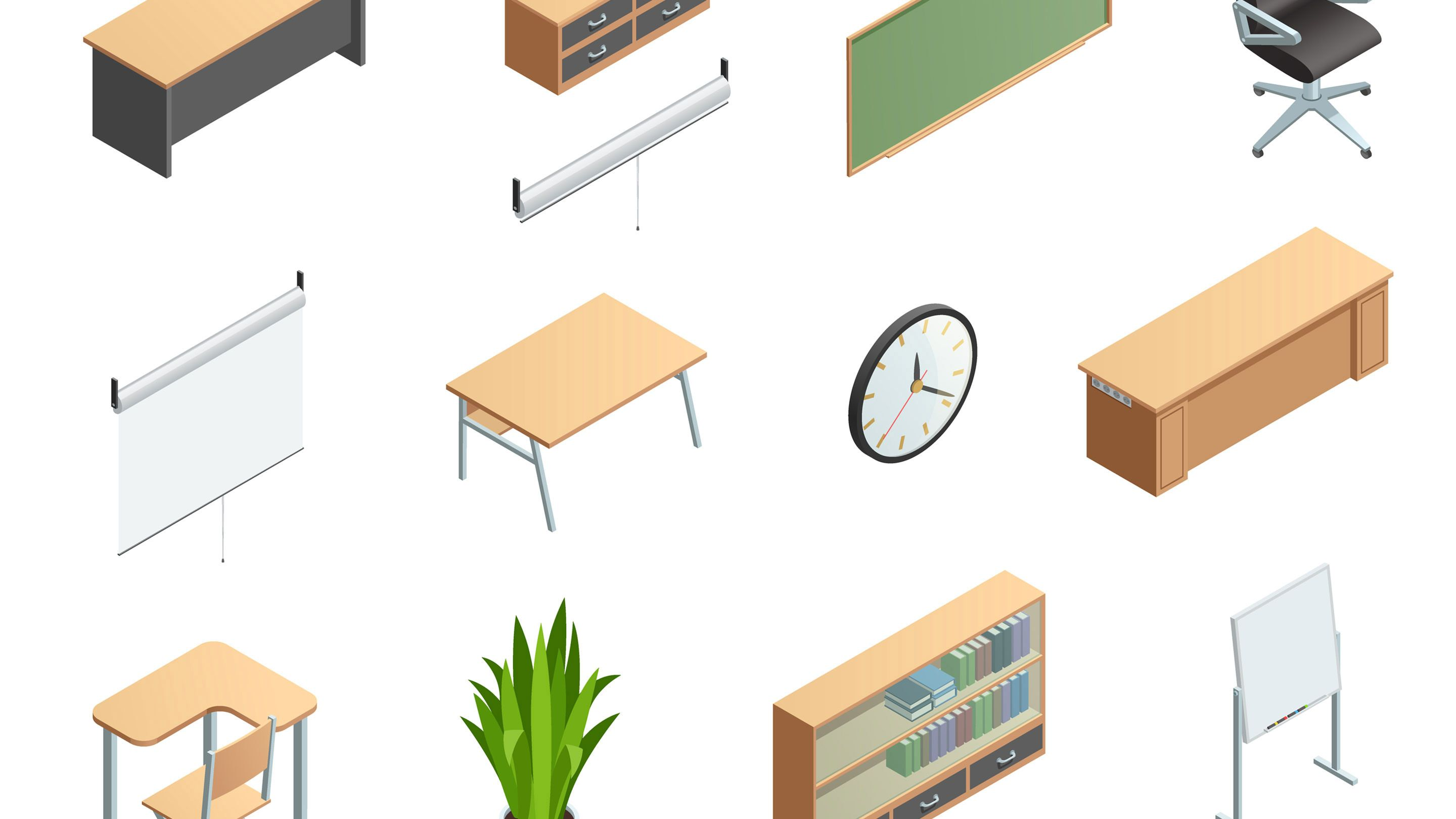 Floating images of desks, tables, chairs, and clocks