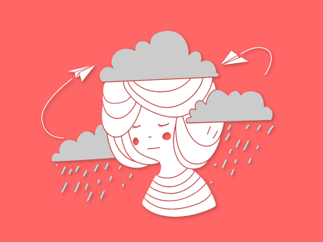 Illio of a girl with rain clouds over her head
