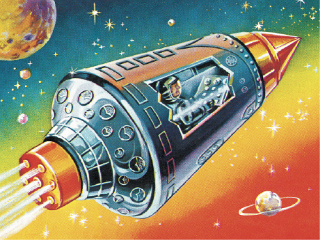 An illustration of a rocket ship in space, with an astronaut in the window.
