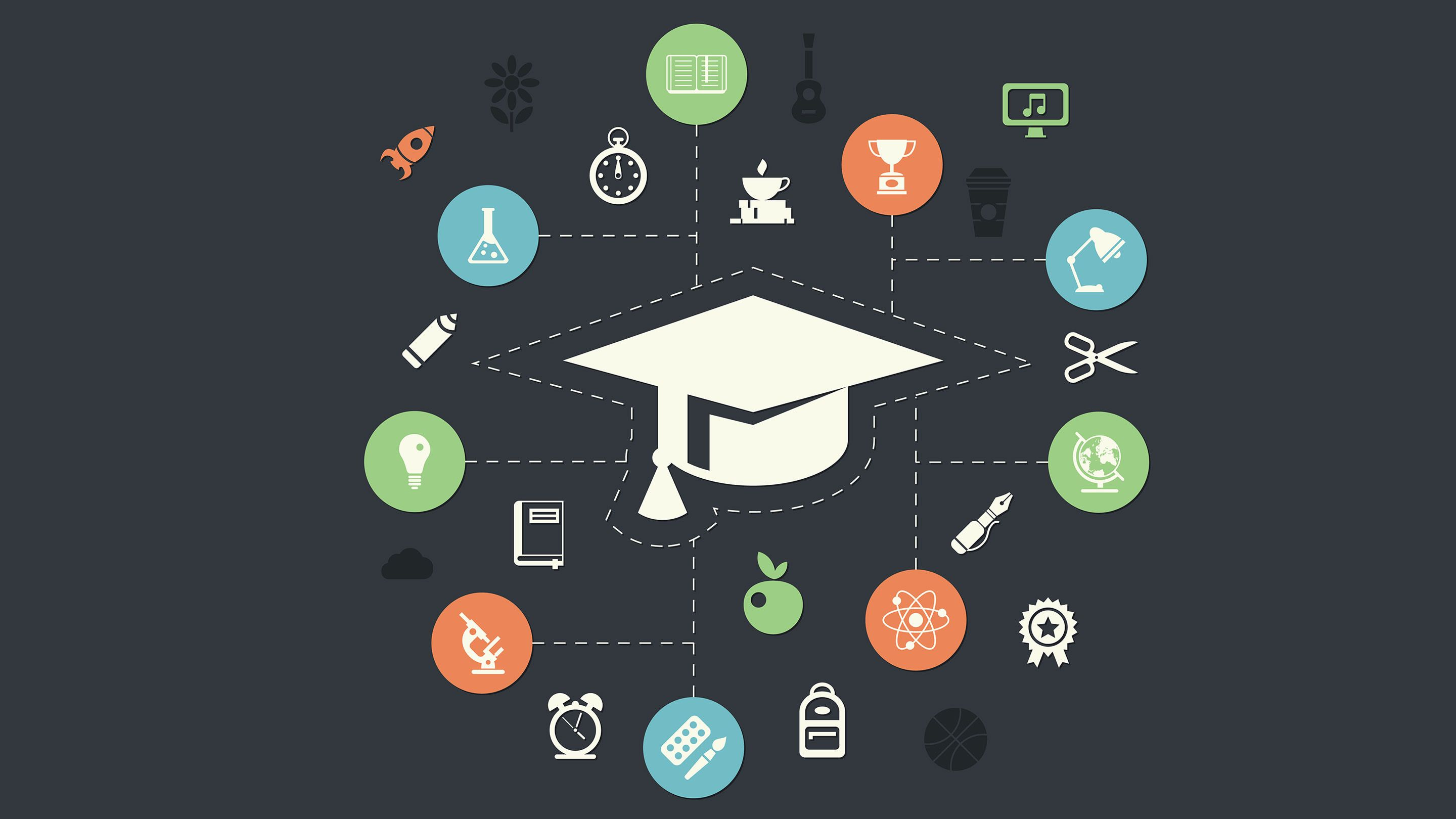 An illustration of a graduation cap surrounded by icons of learning.