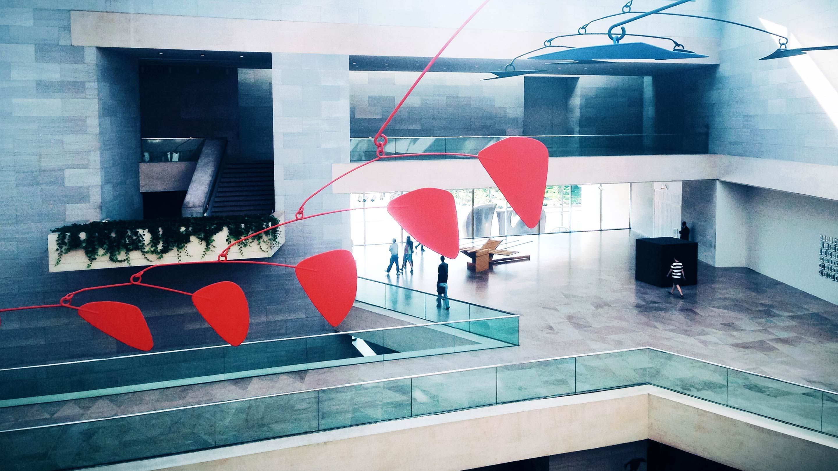 A mobile by Alexander Calder that hangs in the National Gallery of Art
