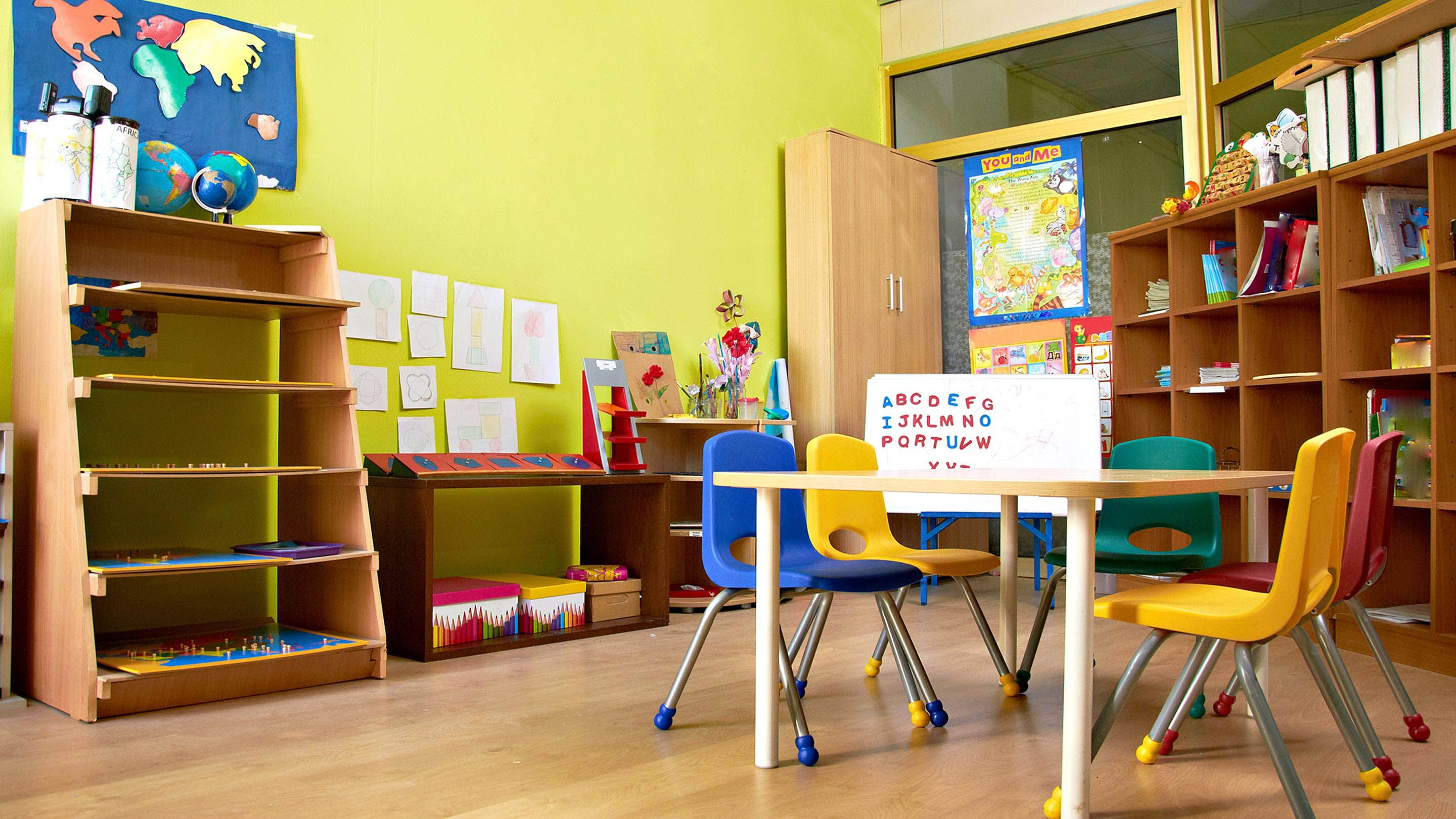 A non-cluttered classroom